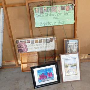 Lot # 230 - Wood Art Signs, Framed Watercolor & Local Quilt Show Poster by Libby Coats