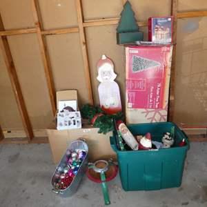 Lot # 231 - Blossom Bucket Amish Nativity Scene, Christmas Decor & Pre-Lit 7' Aster Pine Tree