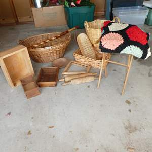 Lot # 233 - Wooden Crate, Baskets, Vintage Crocheted Throw, Brazos Walking Stick & More