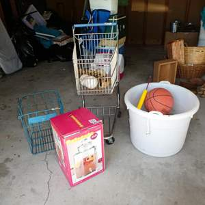 Lot # 234 - Beverage Jar, Vintage Metal Nulaid Farms Wire Dairy Basket, Small Grocery Cart, Baseball Gloves & Basketballs