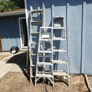 """Lot # 235 - 10' Extension Ladder, 4'8"""" Ladder & 6' Ladder"""