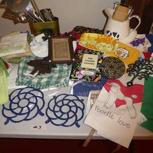 Lot # 3 - Aprons, Metal Trivets & Baking Utensils