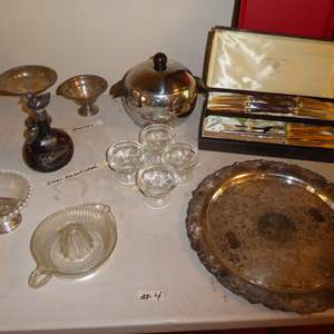 Lot # 4 - Silver Embellished Cordial Bottle, Parker Carving Set & Weighted Sterling Candy Dishes