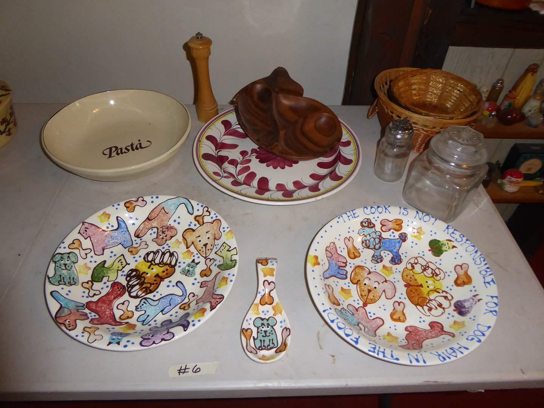 Lot # 6 - Pasta Plates, Bowls Baskets & Jars  (main image)