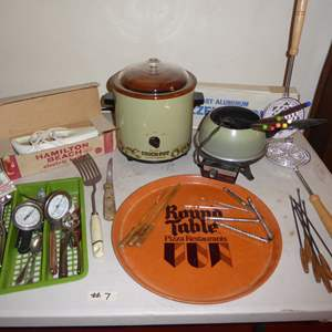 Lot # 7 - Crock Pot, Fondue Pot, Round Table Tray & Kitchen Utensils