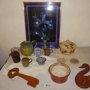 Lot # 8 - Pottery, Iris Print & Wooden Jewelry Hangers
