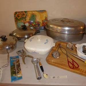 Lot # 10 - Aluminum Roasting Pan, CorningWare & Utensils