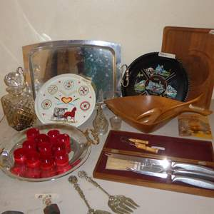 Lot # 13 - Plated Flatware, Cheese Board, Serving Tray & Ice Bucket