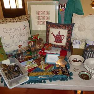 Lot # 14 - Throw Pillow, Flatware, Emile Henry Bowls & More