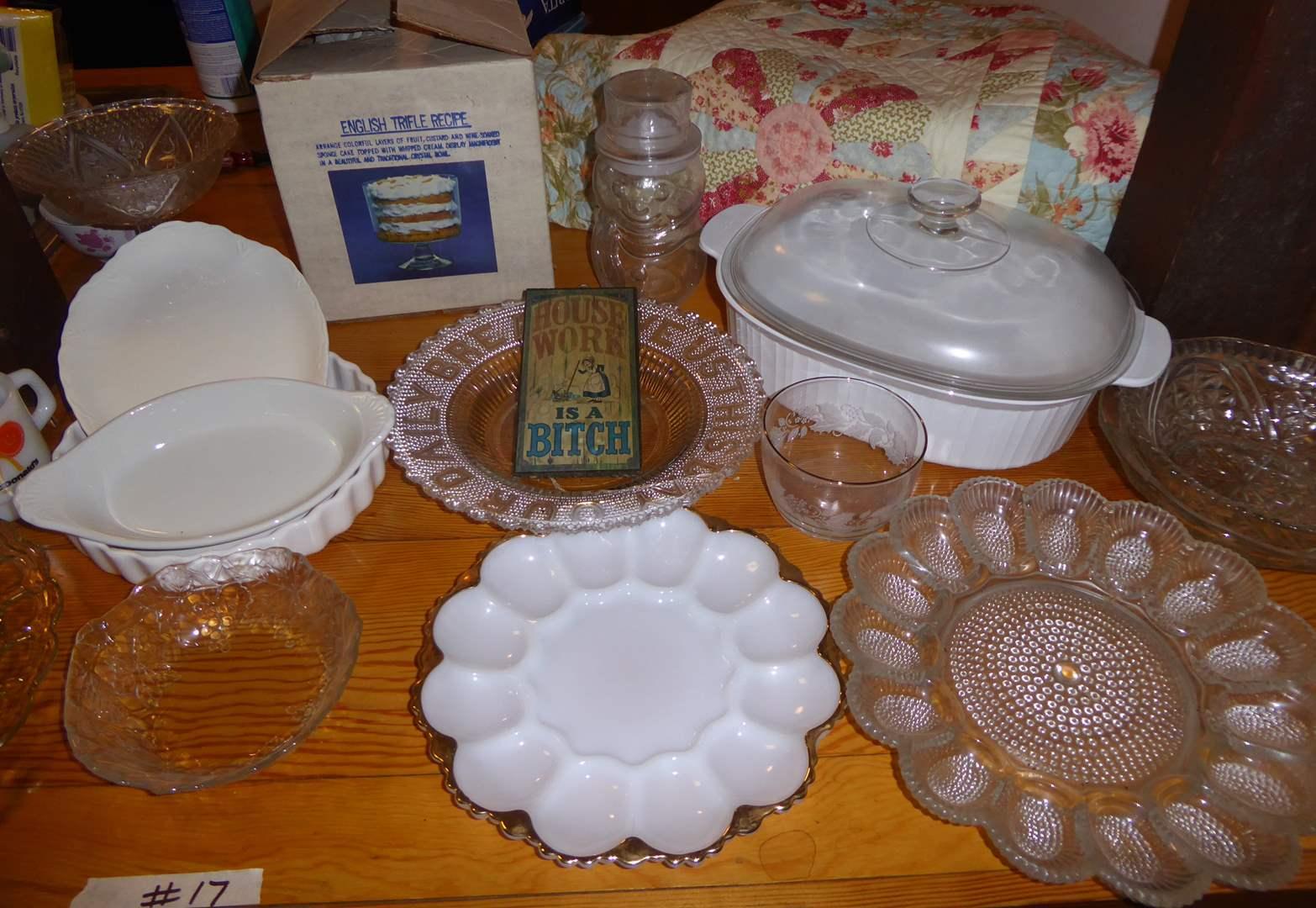 Lot # 17 - Egg Plates, Trifle Dish & Vintage Mugs  (main image)