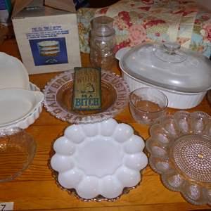 Lot # 17 - Egg Plates, Trifle Dish & Vintage Mugs