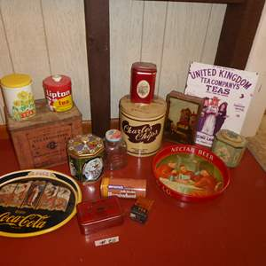 Lot # 20 - Vintage Tins, Jar & Tea Box