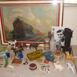 Lot # 22 - Vintage Medicine Tins, Framed Train Print & Horse Figurines