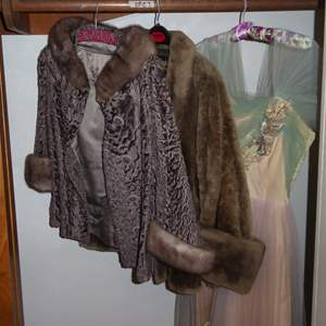 Lot # 27 - Vintage Brocade & Fur Jackets & Tool & Taffeta Dress