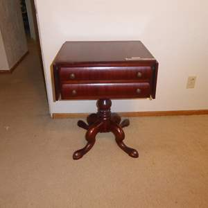 Lot # 37 - Beautiful Antique/Vintage Drop Lea Table W/Two Drawers