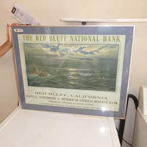 """Lot # 44 - Original Framed """"1921"""" Red Bluff National Bank Calendar (The Thous D Murphy Co)"""
