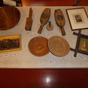 Lot # 68 - Antique Osborne Ivorex Plaque, Butter Molds, Garlic Press, Cute Framed Prints and Wooden Bowls