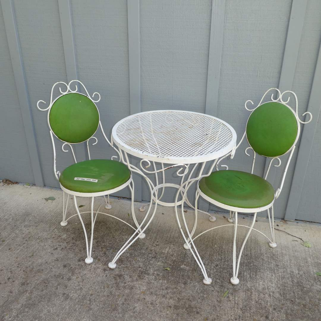 Lot # 50 - Cute Vintage Bistro Set w/ Padded Chairs  (main image)
