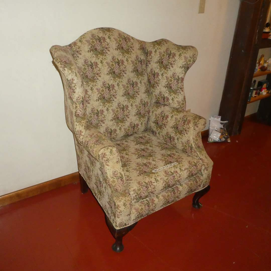 Lot # 54 - Vintage Floral Wingback Accent Chair (main image)