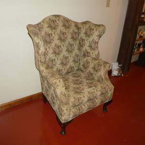 Lot # 54 - Vintage Floral Wingback Accent Chair