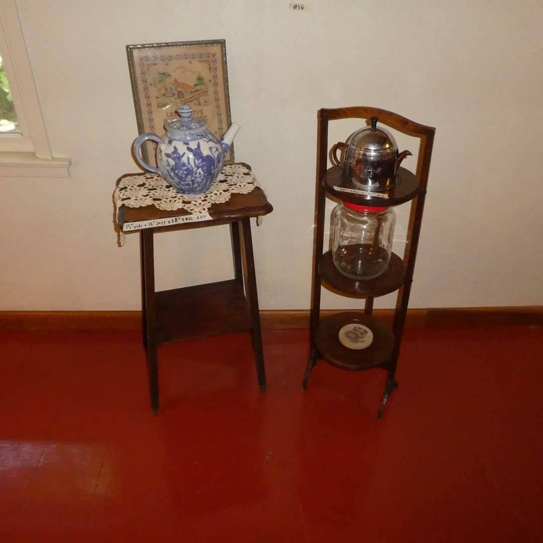 Lot # 56 - Adorable Vintage Side Table and Folding 3 Tier  Wood Pie/ Pastry Stand w/ Vintage Atlas Coffee Jar and More! (main image)