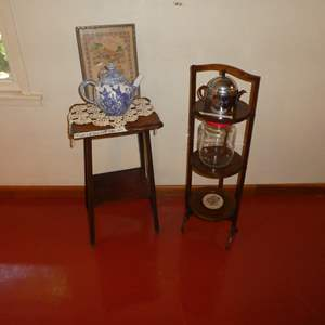 Lot # 56 - Adorable Vintage Side Table and Folding 3 Tier  Wood Pie/ Pastry Stand w/ Vintage Atlas Coffee Jar and More!