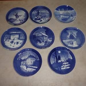 Lot # 58 - Seven Collectible Royal Copenhagen Plates and One B&G Kjobehavn Plate (All Denmark)
