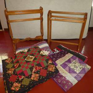 Lot # 64 - Two Cute Quilt Racks and Handmade Machine Stitched Quilts (See Photos for Sizes)