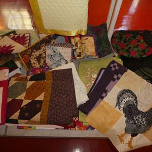 Lot # 66 - Small Quilt Stand and Handmade Machine Stitched Quilted Wall Hangings