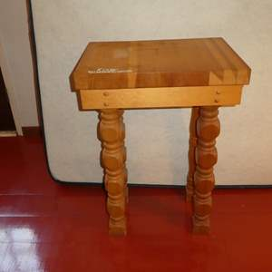 Lot # 67 - Cute Solid Wood Table(One Leg is Different)(Was Used as Stand in Kitchen)
