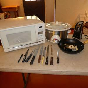 Lot # 70 - Emerson Microwave, Rival Crock-Pot, Hamilton Beach Can Opener, Frying Pan and Variety of Knives