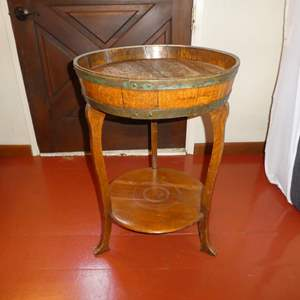 Lot # 71 - Adorable Side Table With Wine Barrel Top