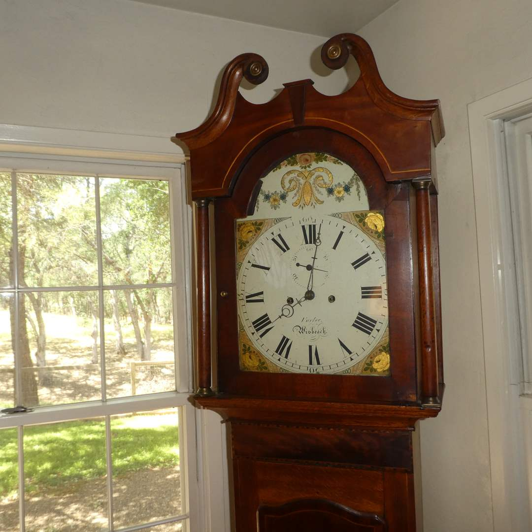Lot # 75 -Beautiful Antique English Finnemore Grandfather Clock  (main image)