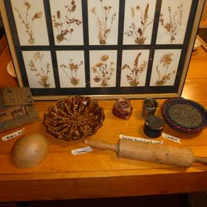 Lot # 77 - Vintage Variety Lot (Framed Dried Flowers, Collapsible Tea Cup, Ceramic Dish, Rolling Pin and Music Box)