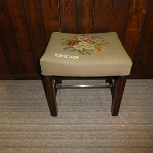 Lot # 81 - Vintage Needle Point Sewing Bench