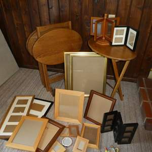 Lot # 88 - Set of 4 TV Trays w/ Stand and a Variety of Picture Frames
