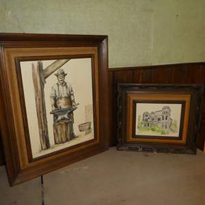 """Lot # 90 - Two Prints/Lithographs By Mildred Schofield """"The Blacksmith"""" & """"Yesterdays Beauties/Cook Mansion"""""""