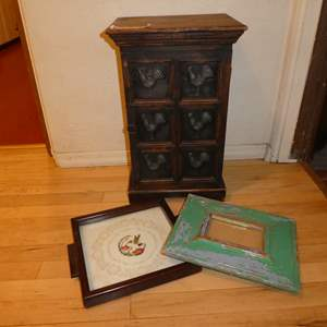 Lot # 93 - Cute Vintage Table Top Cabinet w/ Framed Needle Work and Shabby Chic Picture Frame