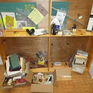 Lot # 201 - Variety of Quilting Materials, Patterns and Tools ( Shelf Not Included)