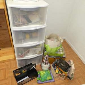 Lot # 202 - Four Drawer Sterilite Storage Full of Misc Crafting and Sewing Materials (See all Photos)