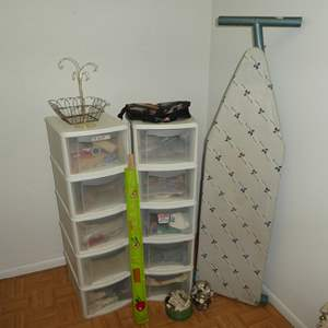 Lot # 203 - Two Five Drawer Sterilite Storage Drawers full of Misc. Crafting, Quilting and Sewing Materials w/ Ironing Board