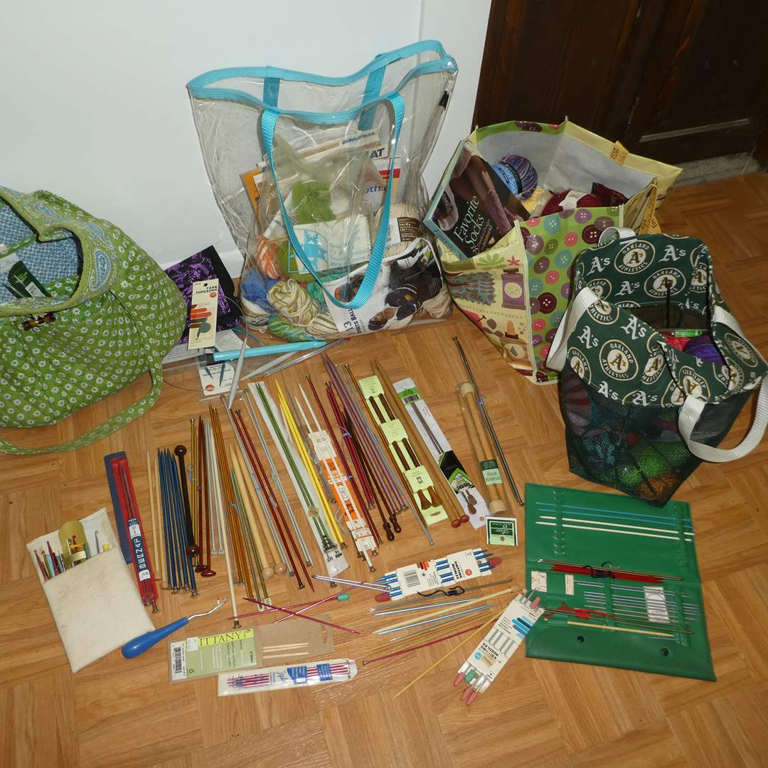 Lot # 205 -  Assorted Knitting/Crocheting Needles and Yarn (See All Photos) (main image)