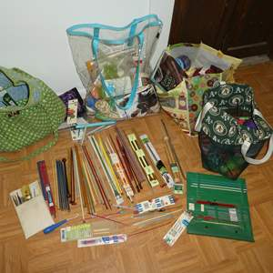 Lot # 205 -  Assorted Knitting/Crocheting Needles and Yarn (See All Photos)