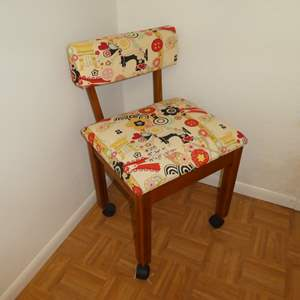 Lot # 208 - Adorable Sewing Chair on Wheels