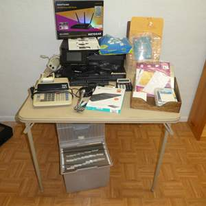 Lot # 210 - Large Office Lot (HP PhotoSmart Printer 7525, Echo Dot, Card Table, Calculators,Router, File Tote and More)