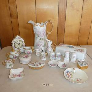 Lot # 218 - Salt and Pepper Shakers, Tissue Case, Pitchers and More (Mostly Marked LB Hicks)