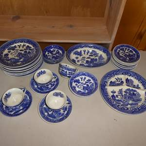 Lot # 219 - 28 Pieces of Blue Willow Ware Made in Japan