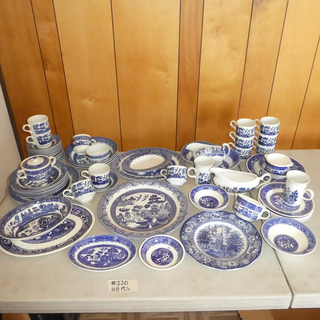 Lot # 220 - 68 Pieces of Blue Willow Ware (Mostly Marked England) (main image)