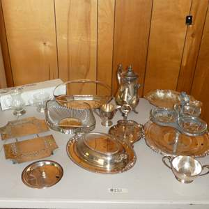 Lot # 221 - Variety of Silver Plated Serving Dishes (Bases on two Glass Pieces Marked Sterling)