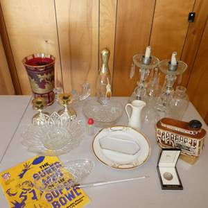 Lot # 224 - Vintage Lot (Glass Ware, Two Glass Lamps, Collectible Super Bowl Magazine, Nickelodeon Coin and More)